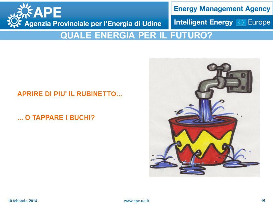 10 febbraio 2014www.ape.ud.it15 APRIRE DI PIU' IL RUBINETTO...... O TAPPARE I BUCHI? QUALE ENERGIA PER IL FUTURO?
