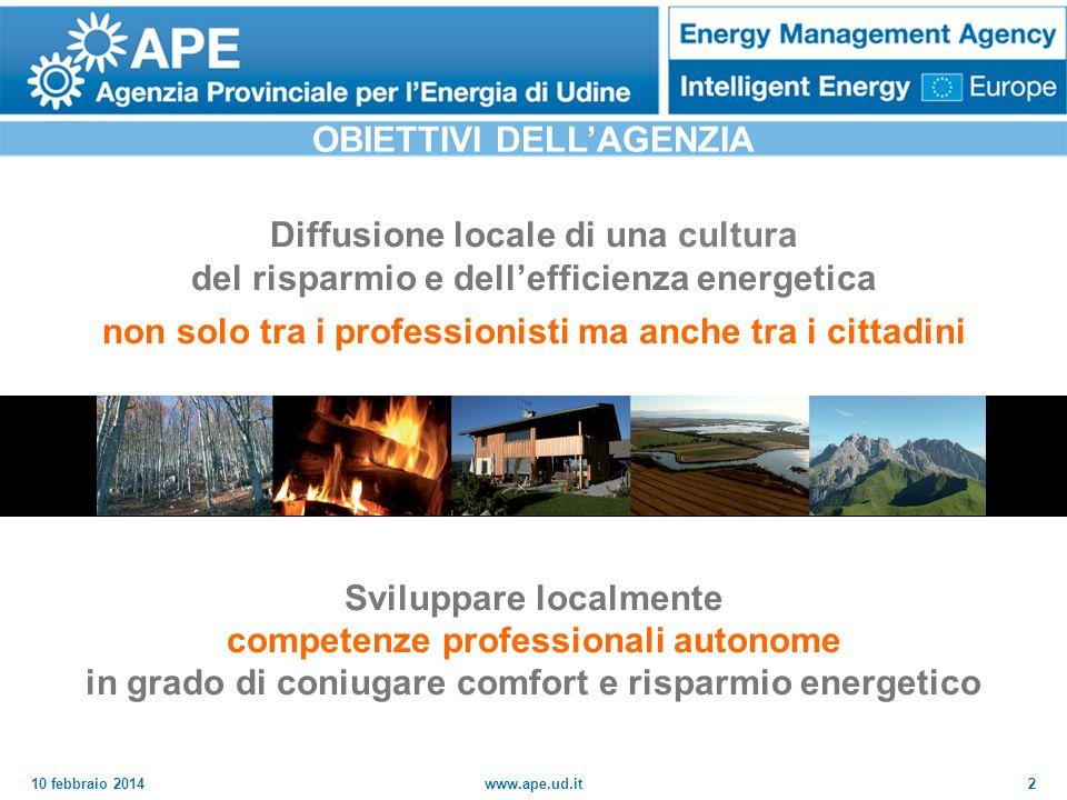 10 febbraio 2014www.ape.ud.it3 GENNAIO 2008 CONVENZIONE CON LAGENZIA CASACLIMA DI BOLZANO Responsabili della certif.