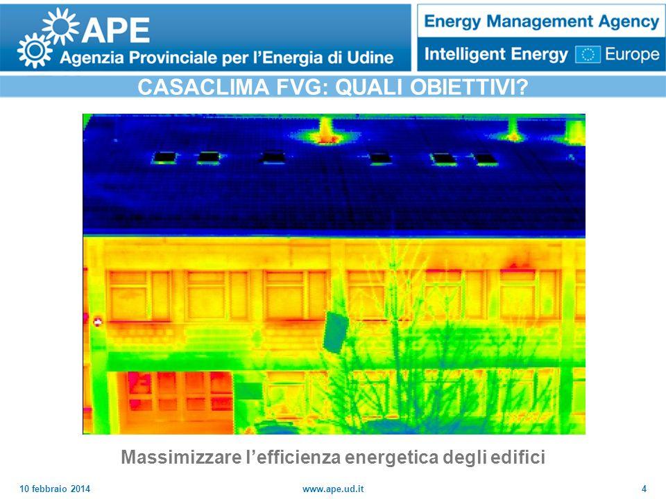 10 febbraio 2014www.ape.ud.it4 CASACLIMA FVG: QUALI OBIETTIVI? Massimizzare lefficienza energetica degli edifici