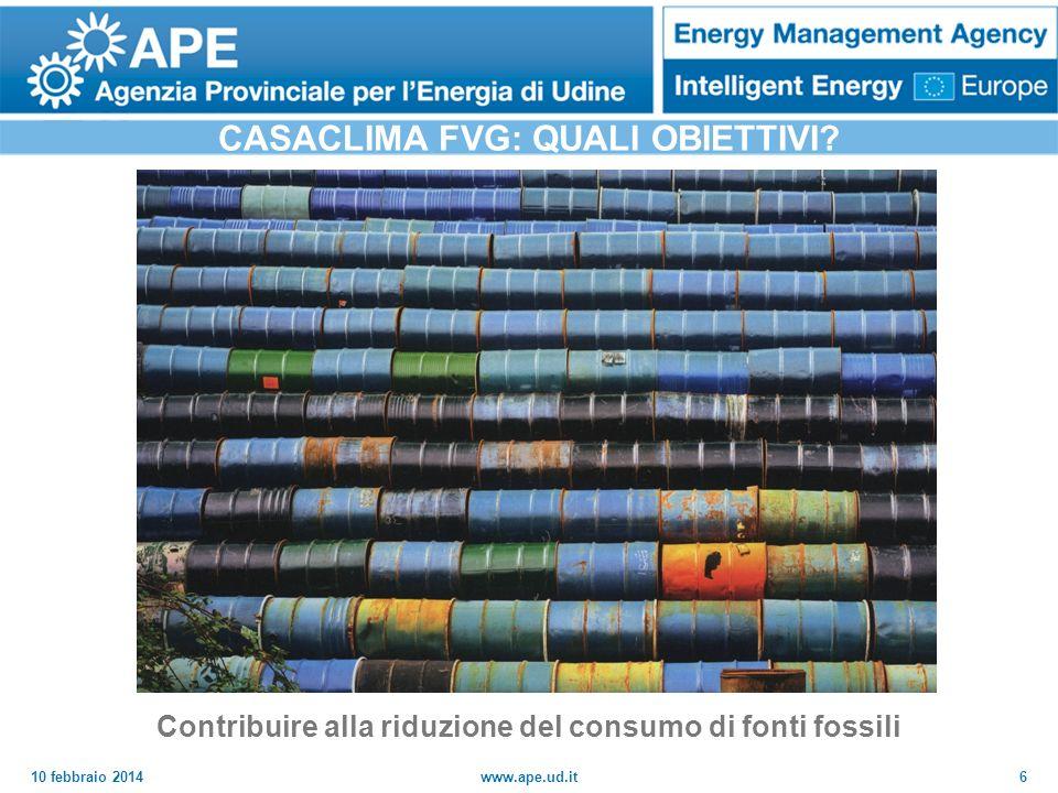 10 febbraio 2014www.ape.ud.it6 CASACLIMA FVG: QUALI OBIETTIVI? Contribuire alla riduzione del consumo di fonti fossili