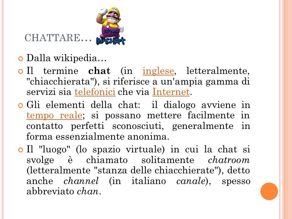 CHATTARE … Dalla wikipedia… Il termine chat (in inglese, letteralmente,