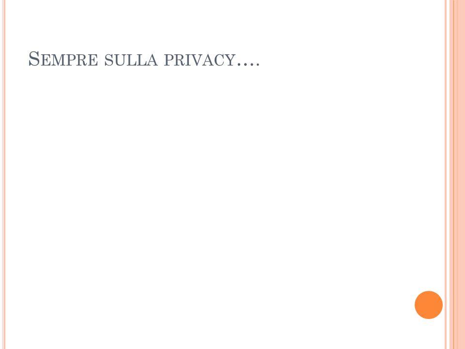 S EMPRE SULLA PRIVACY ….