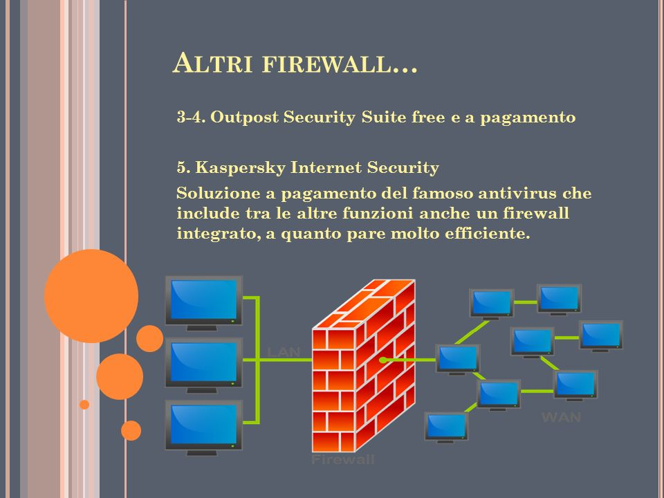 A LTRI FIREWALL … 3-4. Outpost Security Suite free e a pagamento 5. Kaspersky Internet Security Soluzione a pagamento del famoso antivirus che include