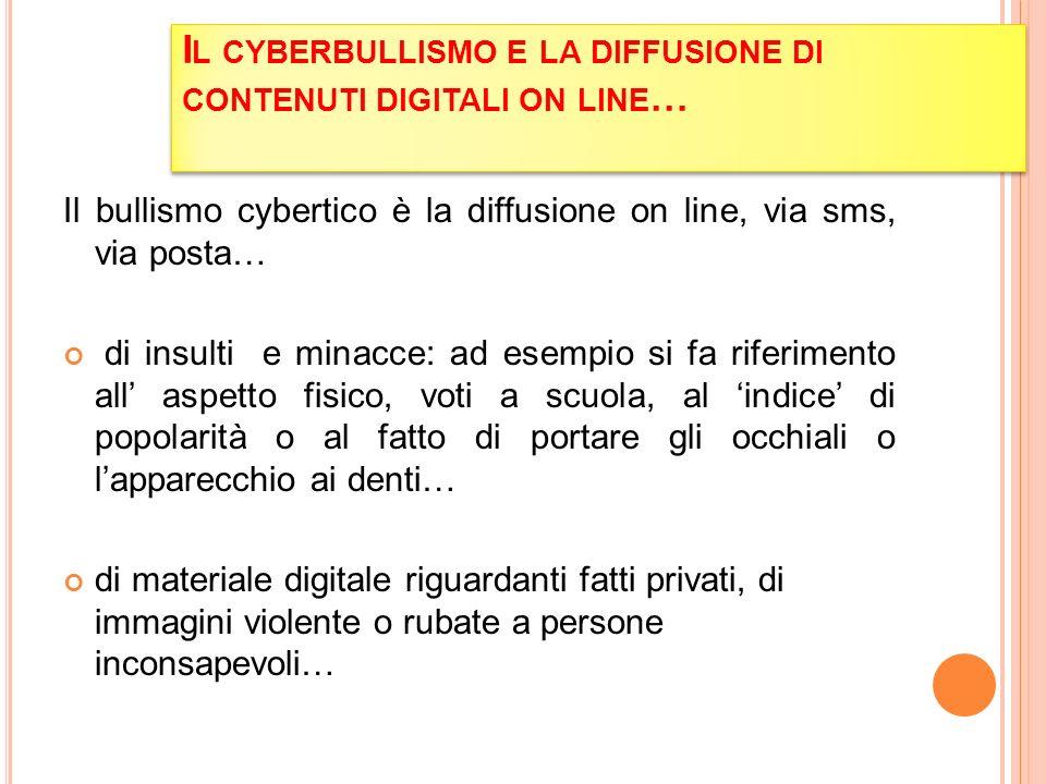 I L CYBERBULLISMO E LA DIFFUSIONE DI CONTENUTI DIGITALI ON LINE … Il bullismo cybertico è la diffusione on line, via sms, via posta… di insulti e mina