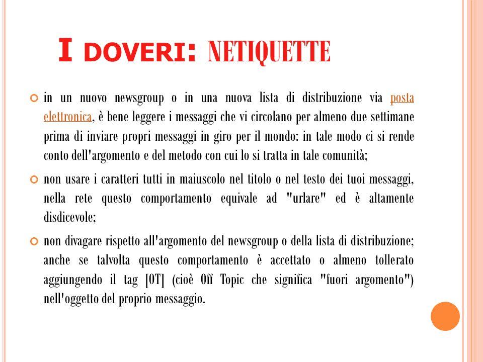 I L GALATEO DI INTERNET ….
