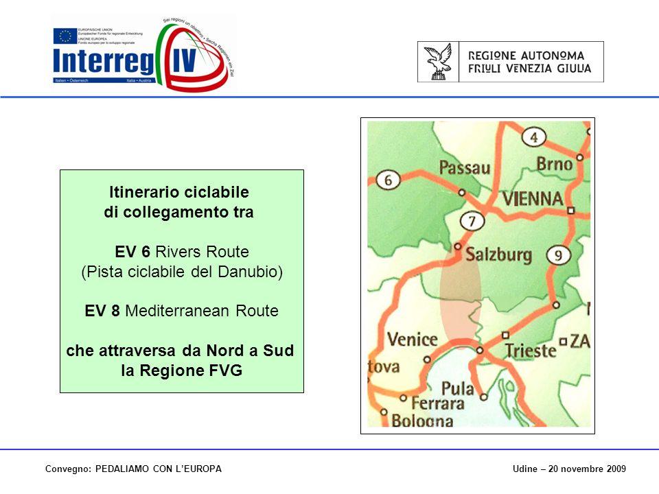 Udine – 20 novembre 2009Convegno: PEDALIAMO CON LEUROPA Itinerario ciclabile di collegamento tra EV 6 Rivers Route (Pista ciclabile del Danubio) EV 8 Mediterranean Route che attraversa da Nord a Sud la Regione FVG