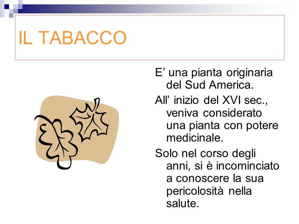 IL TABACCO E una pianta originaria del Sud America. All inizio del XVI sec., veniva considerato una pianta con potere medicinale. Solo nel corso degli