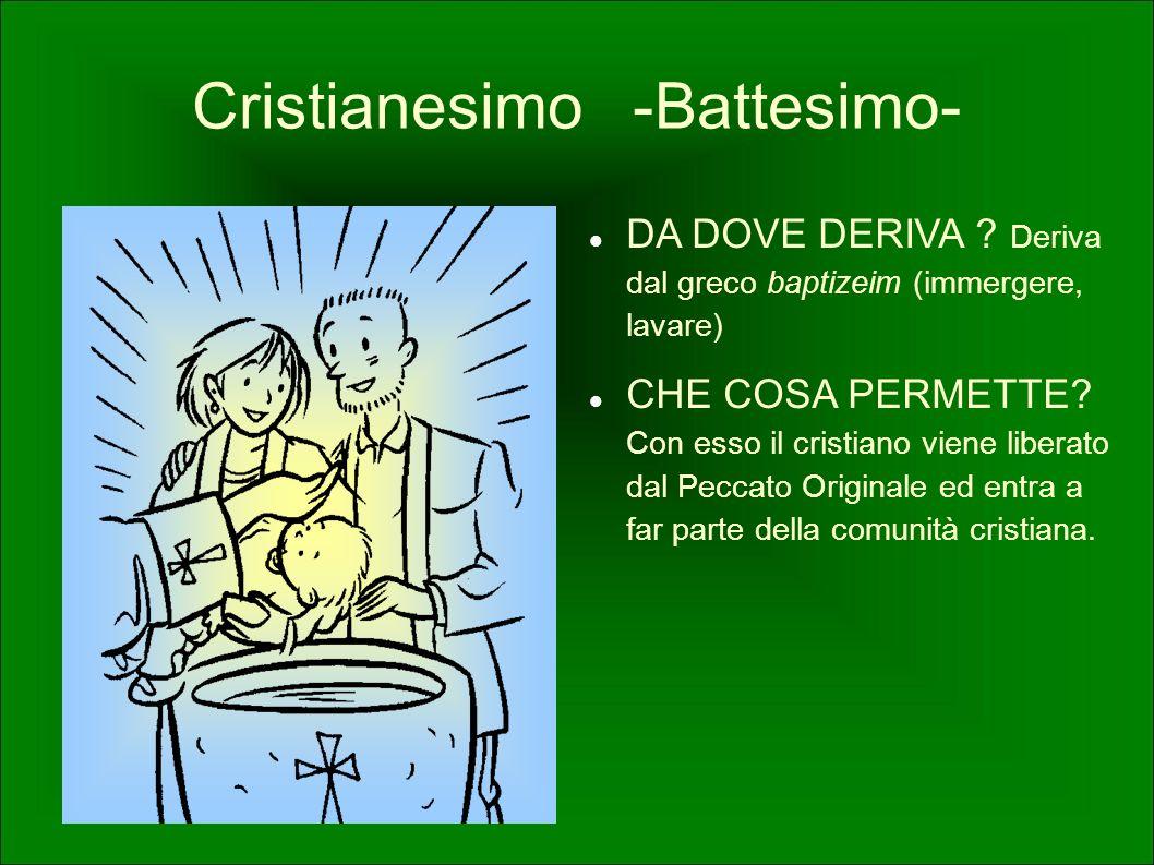 Cristianesimo -Battesimo- DA DOVE DERIVA ? Deriva dal greco baptizeim (immergere, lavare) CHE COSA PERMETTE? Con esso il cristiano viene liberato dal