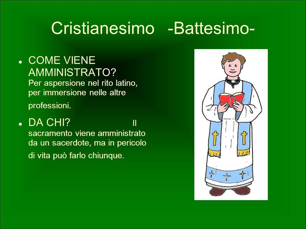 COME VIENE AMMINISTRATO? Per aspersione nel rito latino, per immersione nelle altre professioni. DA CHI? Il sacramento viene amministrato da un sacerd