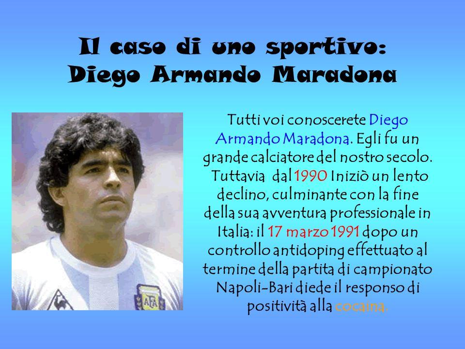 Il caso di uno sportivo: Diego Armando Maradona Tutti voi conoscerete Diego Armando Maradona. Egli fu un grande calciatore del nostro secolo. Tuttavia