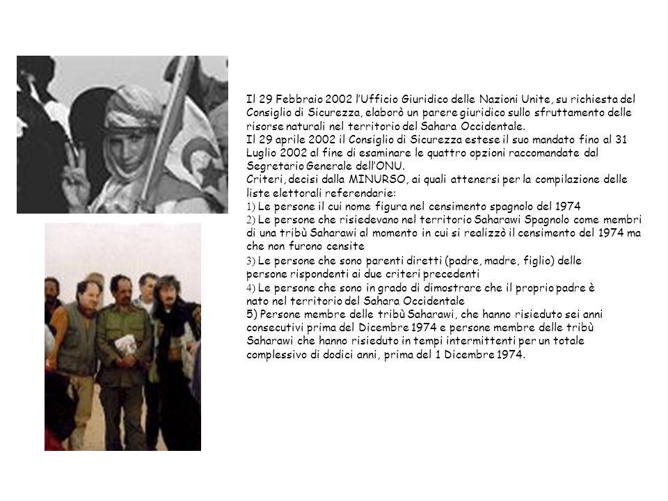 Il 29 Febbraio 2002 lUfficio Giuridico delle Nazioni Unite, su richiesta del Consiglio di Sicurezza, elaborò un parere giuridico sullo sfruttamento delle risorse naturali nel territorio del Sahara Occidentale.