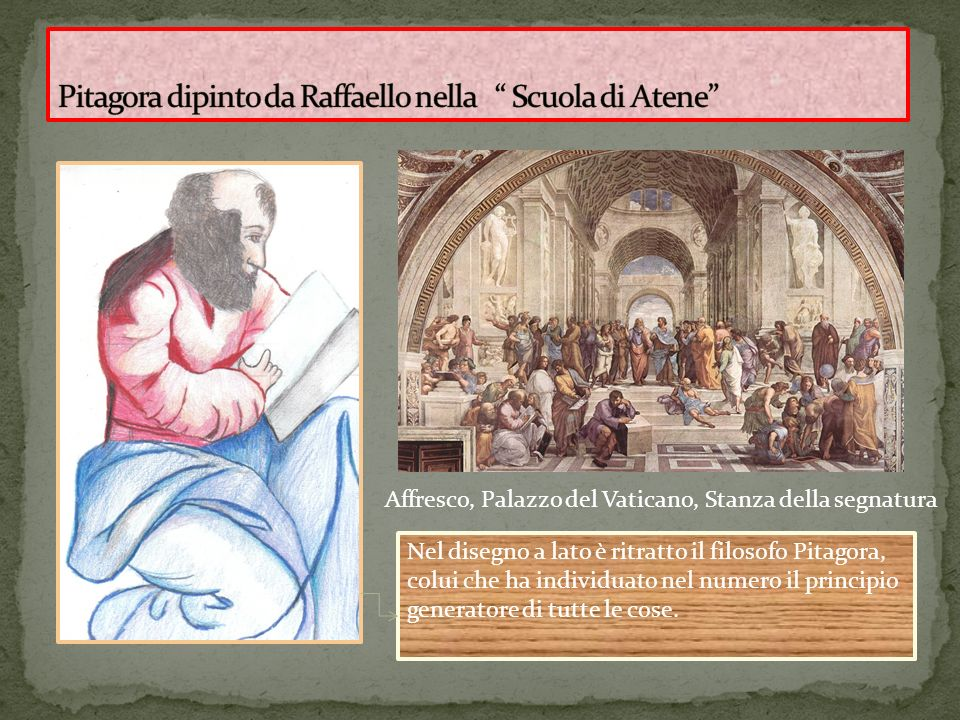 Affresco, Palazzo del Vaticano, Stanza della segnatura Nel disegno a lato è ritratto il filosofo Pitagora, colui che ha individuato nel numero il prin