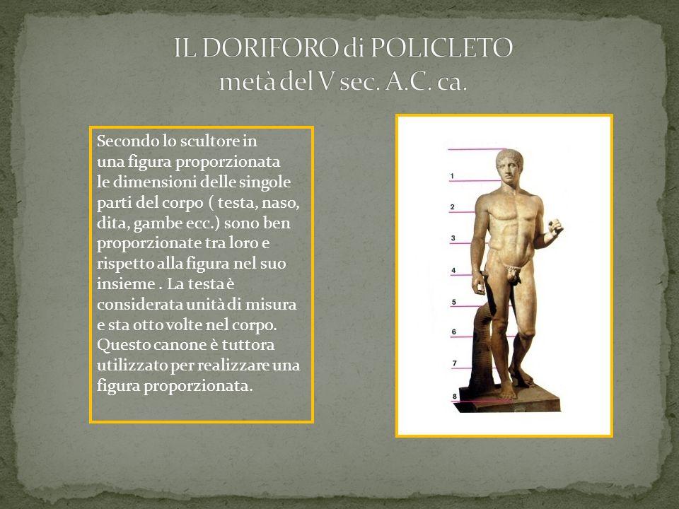Secondo lo scultore in una figura proporzionata le dimensioni delle singole parti del corpo ( testa, naso, dita, gambe ecc.) sono ben proporzionate tr