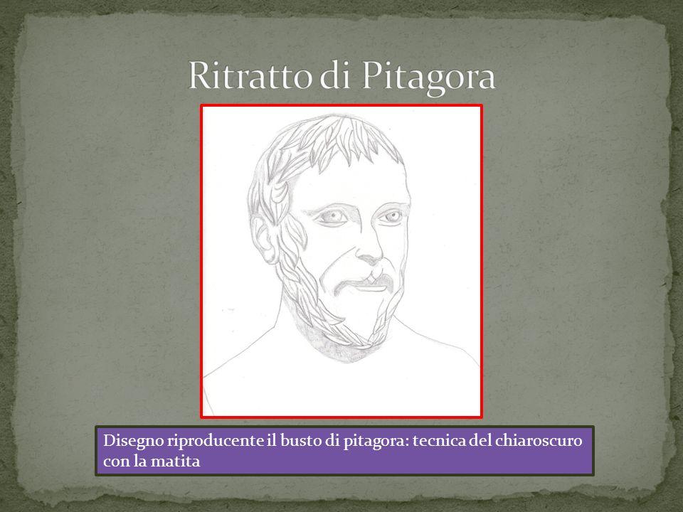 Disegno riproducente il busto di pitagora: tecnica del chiaroscuro con la matita