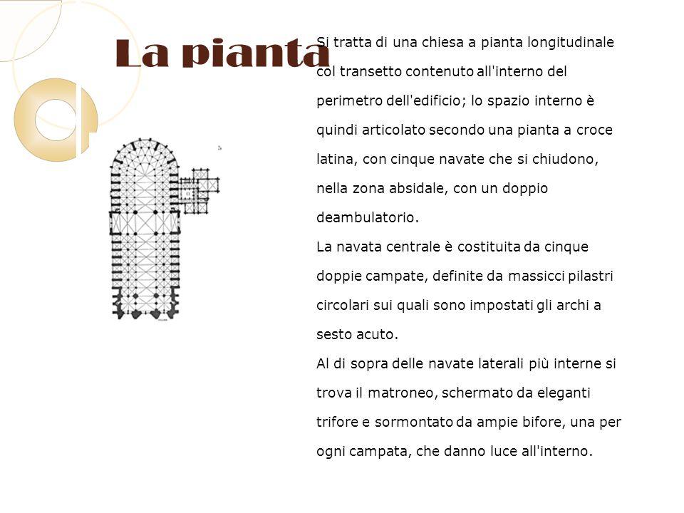 La pianta Si tratta di una chiesa a pianta longitudinale col transetto contenuto all'interno del perimetro dell'edificio; lo spazio interno è quindi a