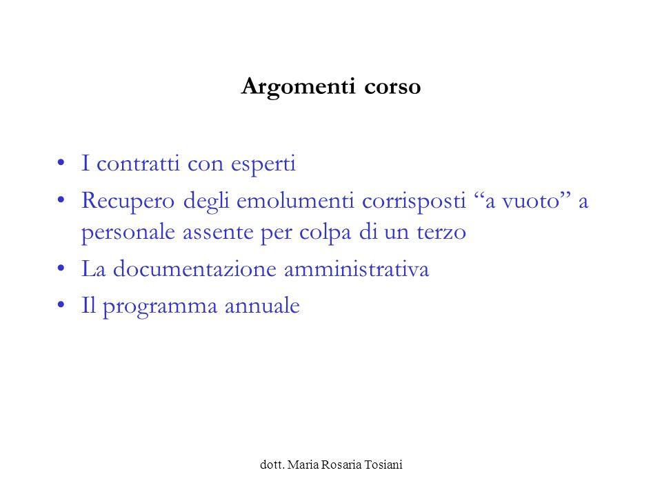 dott.Maria Rosaria Tosiani Contratto integrativo di istituto Quando.