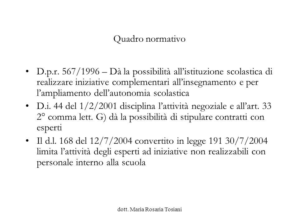 dott.Maria Rosaria Tosiani Spese P - Progetti P01 P..