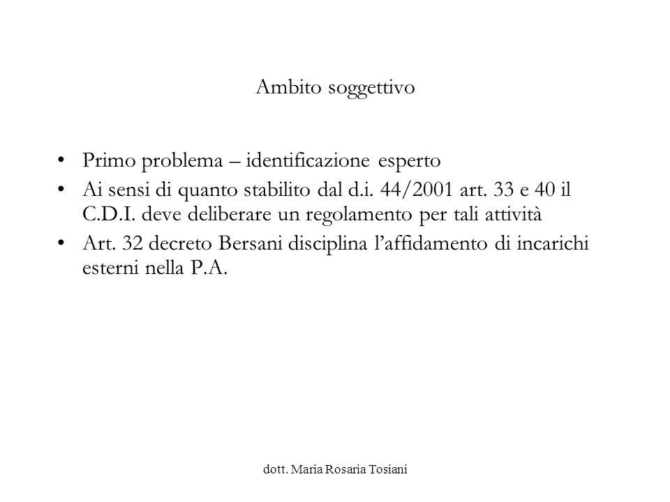 dott.Maria Rosaria Tosiani L AFFIDAMENTO DI INCARICHI ESTERNI E LE NOVITA INTRODOTTE DAL D.L.