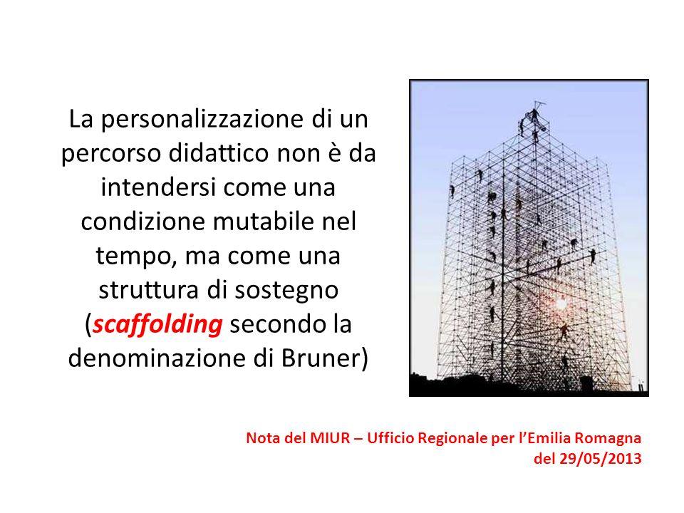 La personalizzazione di un percorso didattico non è da intendersi come una condizione mutabile nel tempo, ma come una struttura di sostegno (scaffoldi
