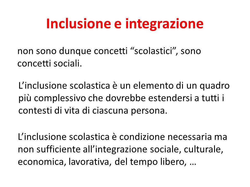 Inclusione e integrazione non sono dunque concetti scolastici, sono concetti sociali. Linclusione scolastica è un elemento di un quadro più complessiv