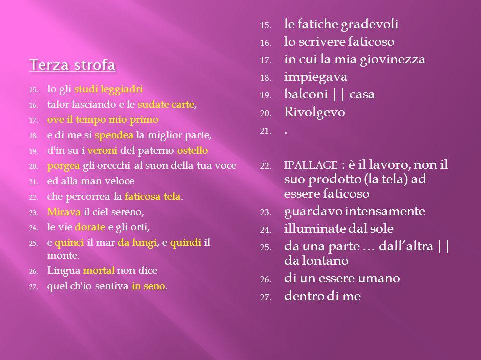 Quarta strofa 27.Che pensieri soavi, 28. che speranze, che cori, o Silvia mia.