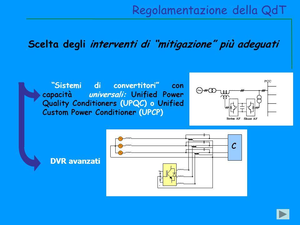 Sistemi di convertitori con capacità universali: Unified Power Quality Conditioners (UPQC) o Unified Custom Power Conditioner (UPCP) Regolamentazione della QdT Scelta degli interventi di mitigazione più adeguati