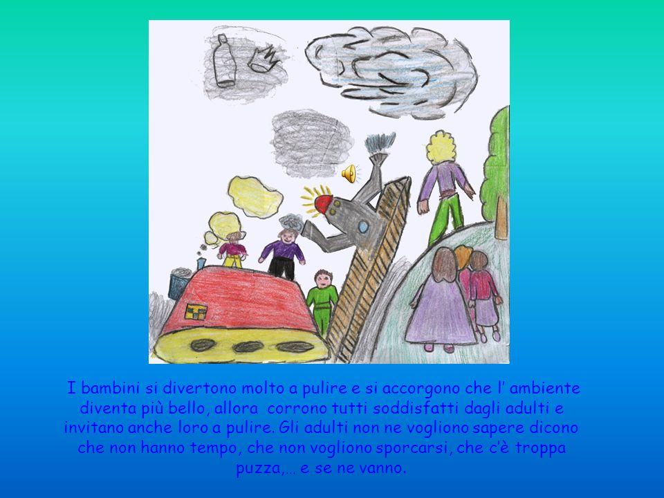 I bambini incuriositi dagli alieni, dai robot e da quella strana macchina si avvicinano e decidono di pulire anche loro.