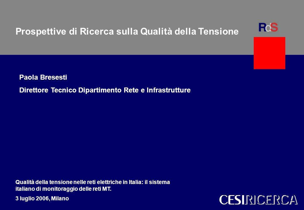 1 Forum Qualità della tensione nelle reti elettriche in Italia. Milano, 3 luglio 2006 Milano CESI 1 Modelli per gli scenari del sistema elettrico ital