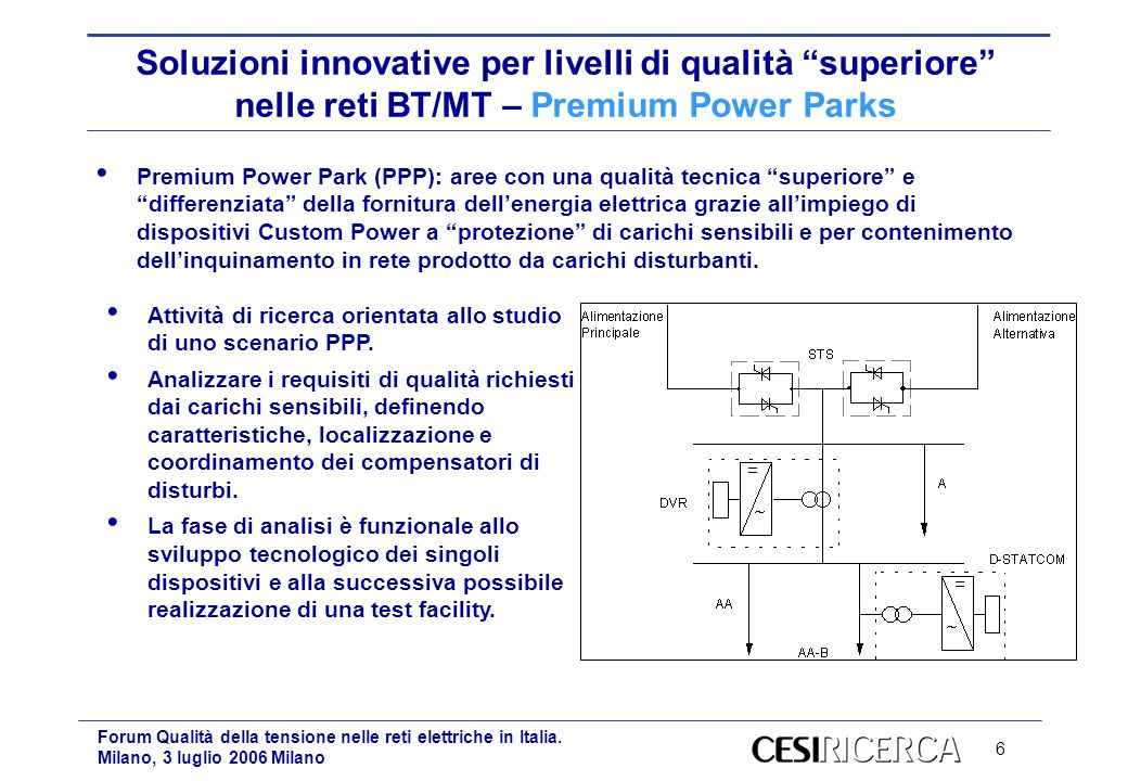 6 Forum Qualità della tensione nelle reti elettriche in Italia. Milano, 3 luglio 2006 Milano Soluzioni innovative per livelli di qualità superiore nel