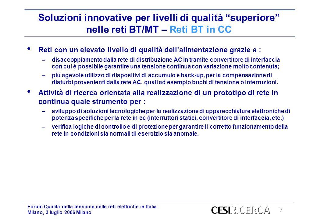 7 Forum Qualità della tensione nelle reti elettriche in Italia. Milano, 3 luglio 2006 Milano Soluzioni innovative per livelli di qualità superiore nel
