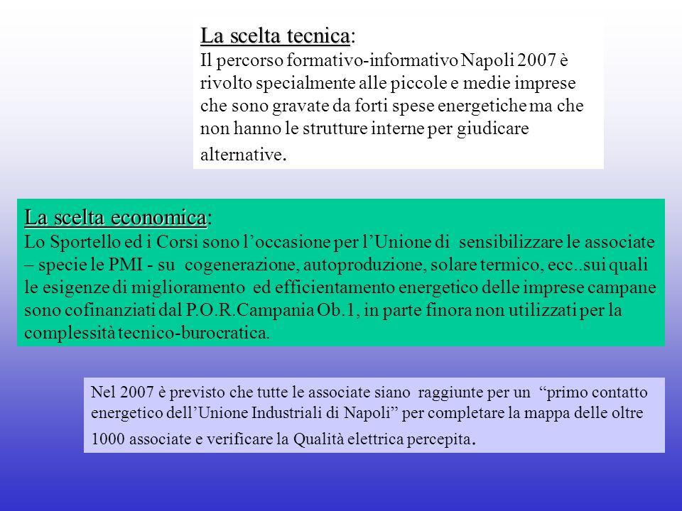 La scelta tecnica La scelta tecnica: Il percorso formativo-informativo Napoli 2007 è rivolto specialmente alle piccole e medie imprese che sono gravate da forti spese energetiche ma che non hanno le strutture interne per giudicare alternative.