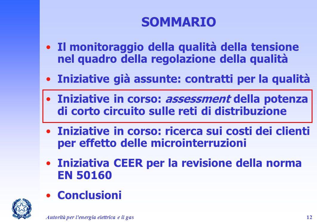 Autorità per l'energia elettrica e il gas12 SOMMARIO Il monitoraggio della qualità della tensione nel quadro della regolazione della qualità Iniziativ