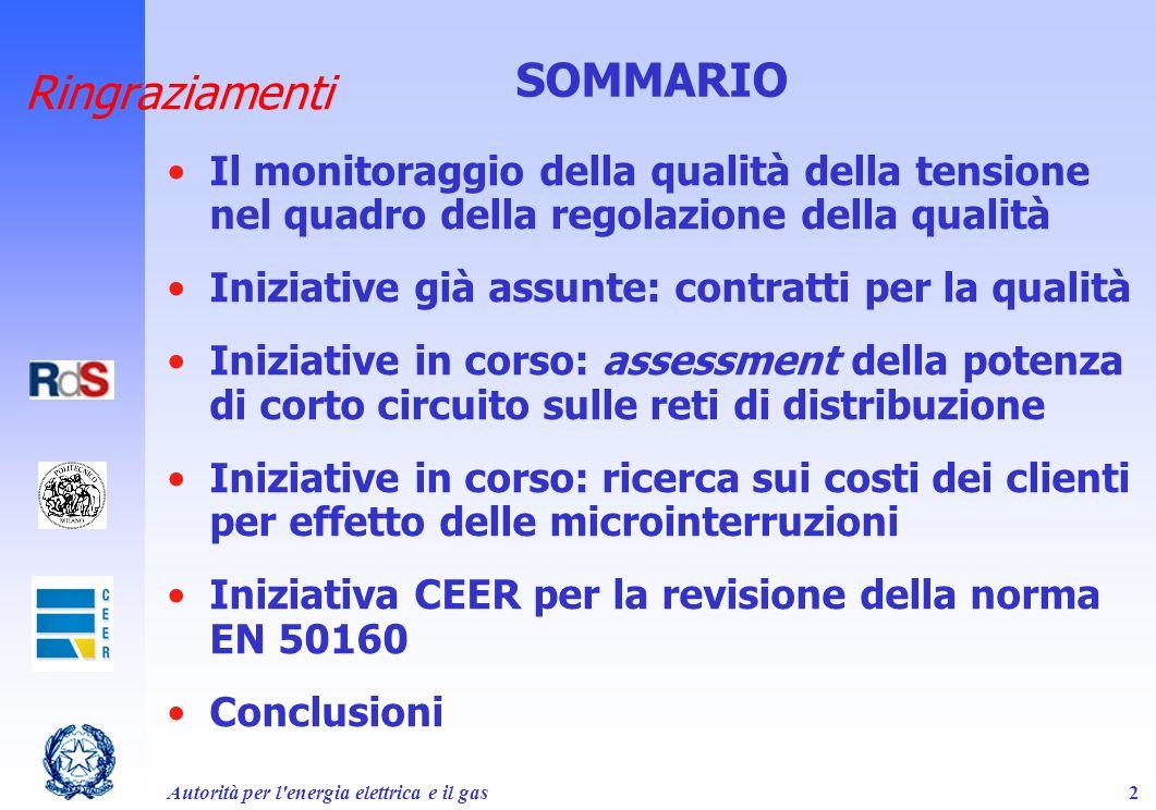 Autorità per l'energia elettrica e il gas2 Ringraziamenti Il monitoraggio della qualità della tensione nel quadro della regolazione della qualità Iniz