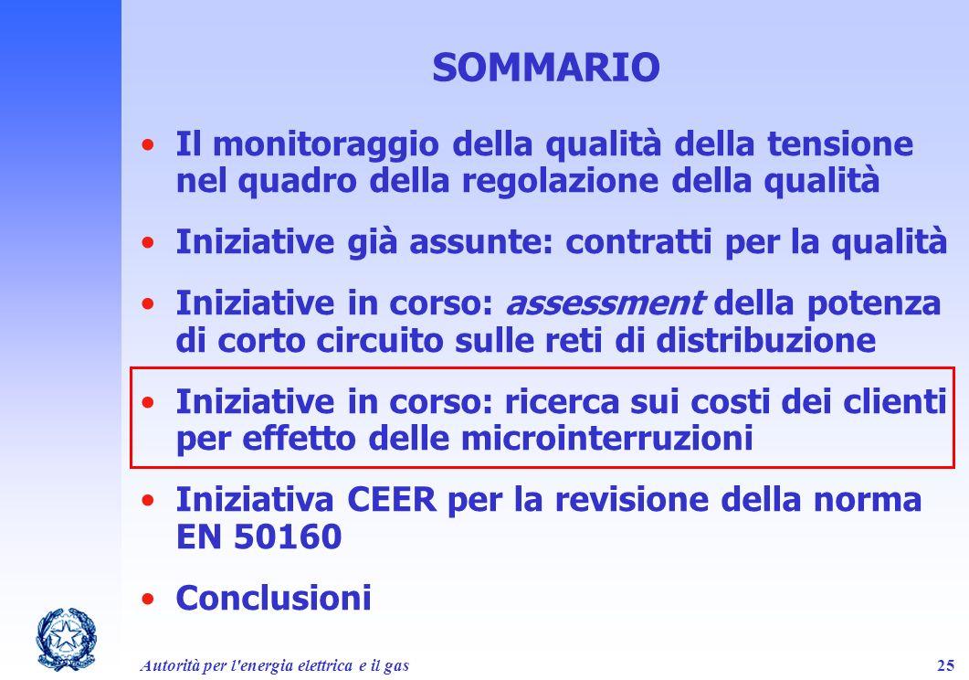 Autorità per l'energia elettrica e il gas25 SOMMARIO Il monitoraggio della qualità della tensione nel quadro della regolazione della qualità Iniziativ