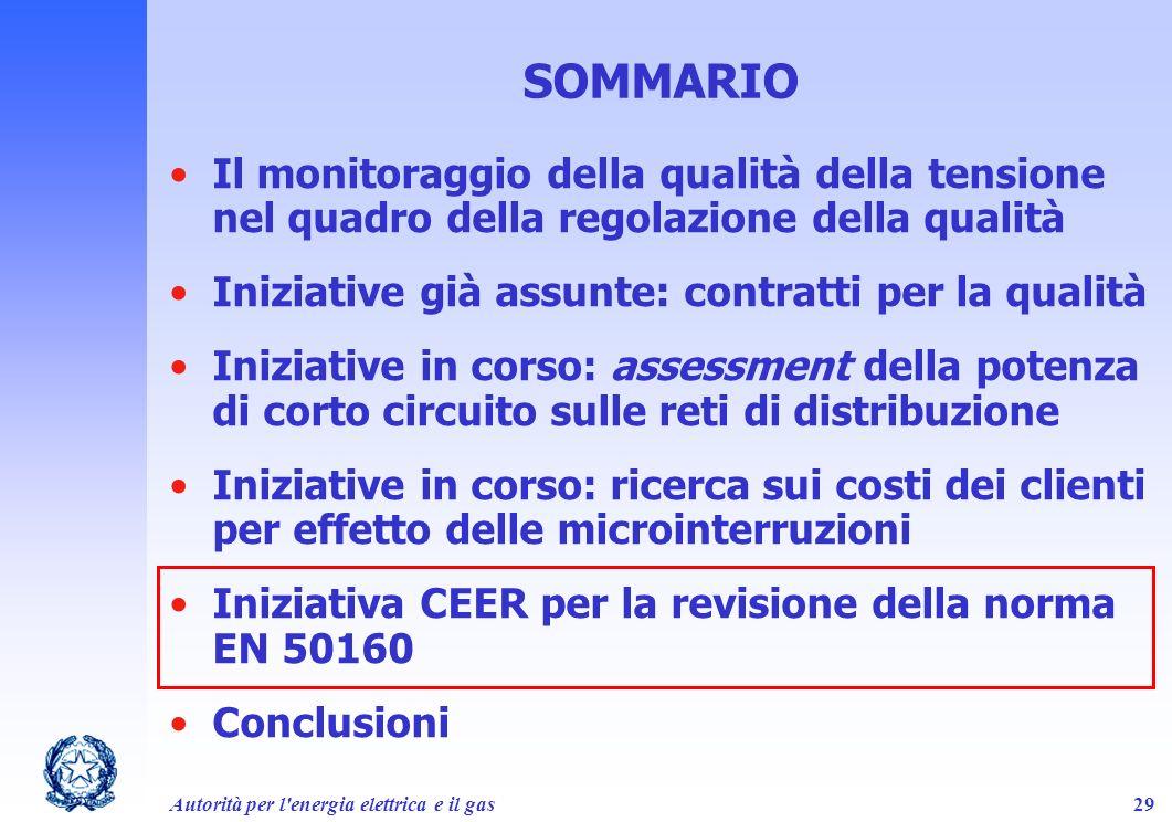 Autorità per l'energia elettrica e il gas29 SOMMARIO Il monitoraggio della qualità della tensione nel quadro della regolazione della qualità Iniziativ