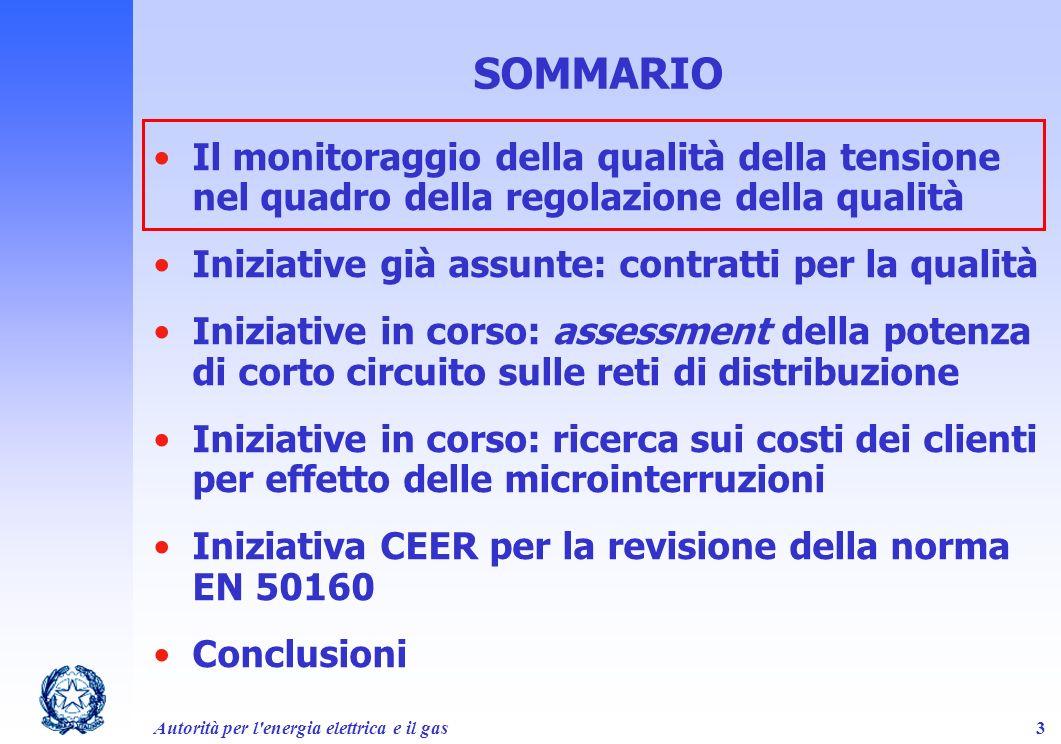 Autorità per l'energia elettrica e il gas3 SOMMARIO Il monitoraggio della qualità della tensione nel quadro della regolazione della qualità Iniziative