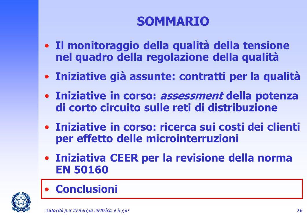 Autorità per l'energia elettrica e il gas36 SOMMARIO Il monitoraggio della qualità della tensione nel quadro della regolazione della qualità Iniziativ