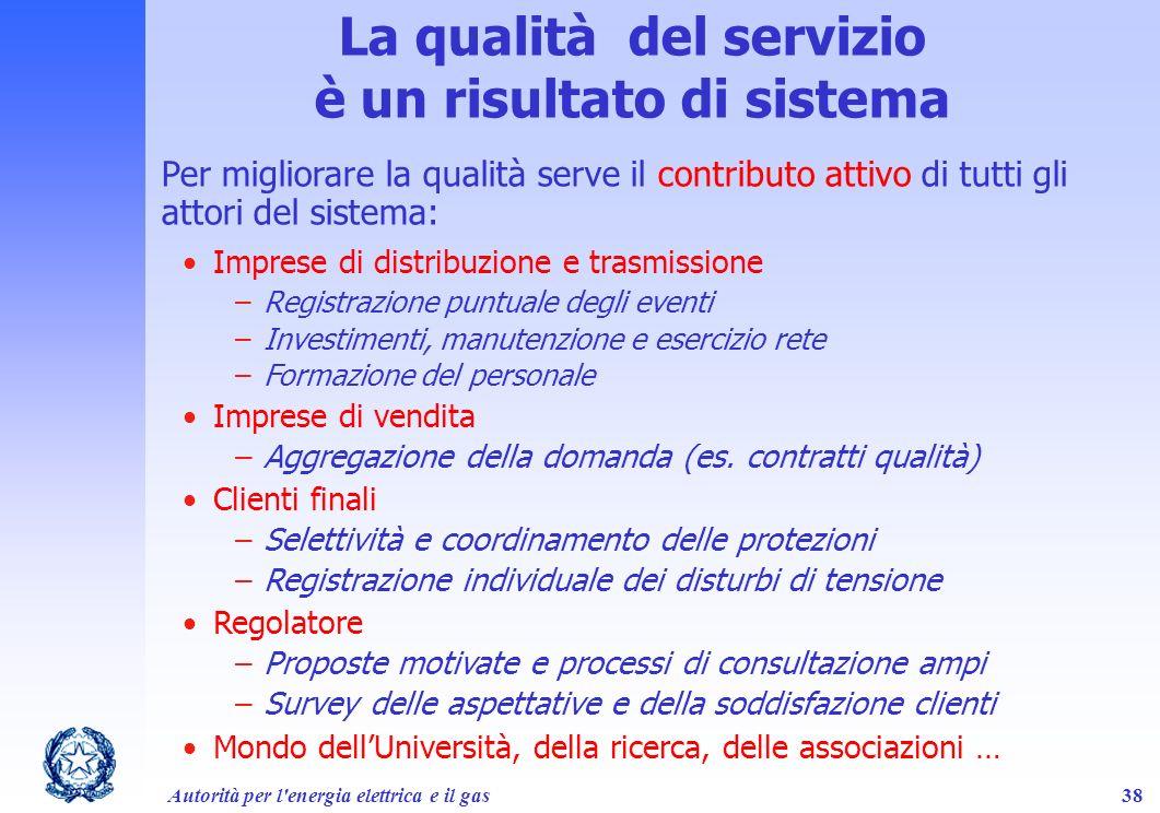Autorità per l'energia elettrica e il gas38 La qualità del servizio è un risultato di sistema Per migliorare la qualità serve il contributo attivo di