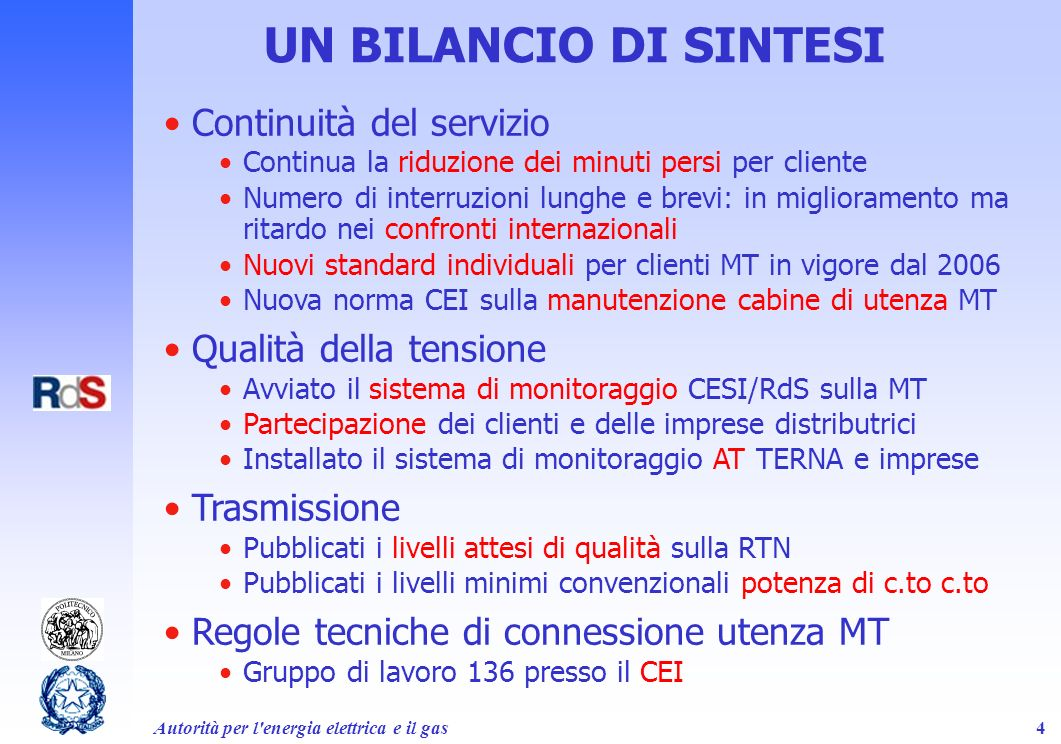 Autorità per l energia elettrica e il gas35 Summing up regulators expectations Avoid ambiguity in definitions and measurement –f.i.: voltage dips and swells, rapid voltage changes –international consensus for improving VQ measurement For the sake of higher customer protection: –indicative values have too many drawbacks –required levels shall apply for 100% of normal operating time –specify emergency operating conditions (back-feed, F.M.) Compulsory standards differentiated according to: –territory or customers density –network characteristics (neutral grounding; active/passive) Consistency among all standards (responsibilities) Balance between technical requirements and their economical consequences (cost/benefit analysis) Utilizzo dei dati del monitoraggio per proporre al Cenelec nuovi livelli di riferimento per la revisione della EN 50160
