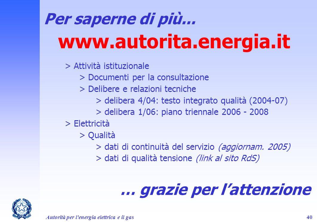 Autorità per l'energia elettrica e il gas40 Per saperne di più... www.autorita.energia.it > Attività istituzionale > Documenti per la consultazione >