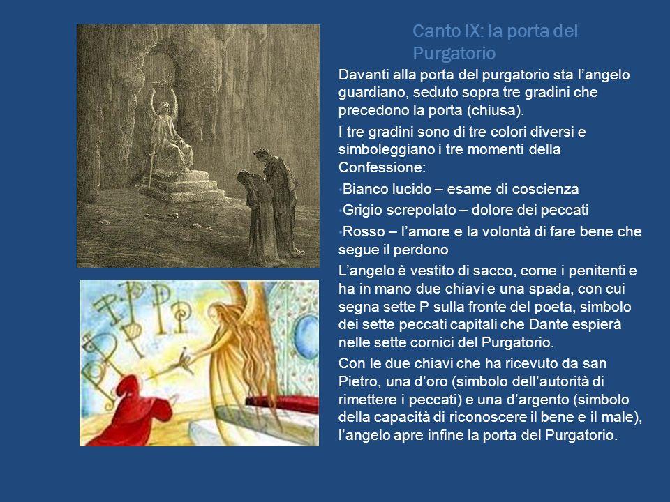 Canto IX: la porta del Purgatorio Davanti alla porta del purgatorio sta langelo guardiano, seduto sopra tre gradini che precedono la porta (chiusa). I