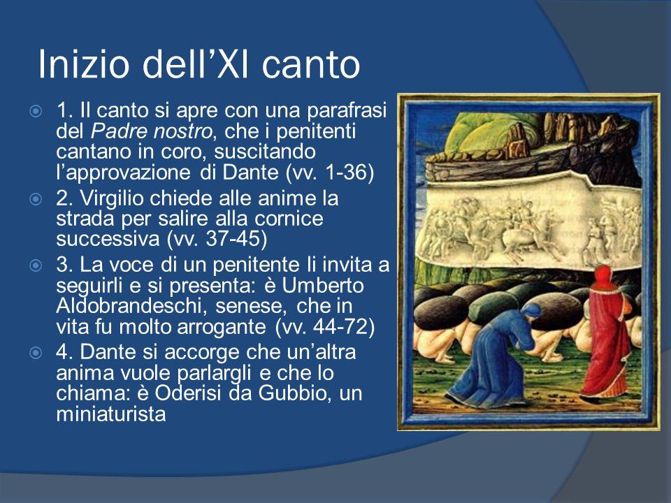 Inizio dellXI canto 1. Il canto si apre con una parafrasi del Padre nostro, che i penitenti cantano in coro, suscitando lapprovazione di Dante (vv. 1-