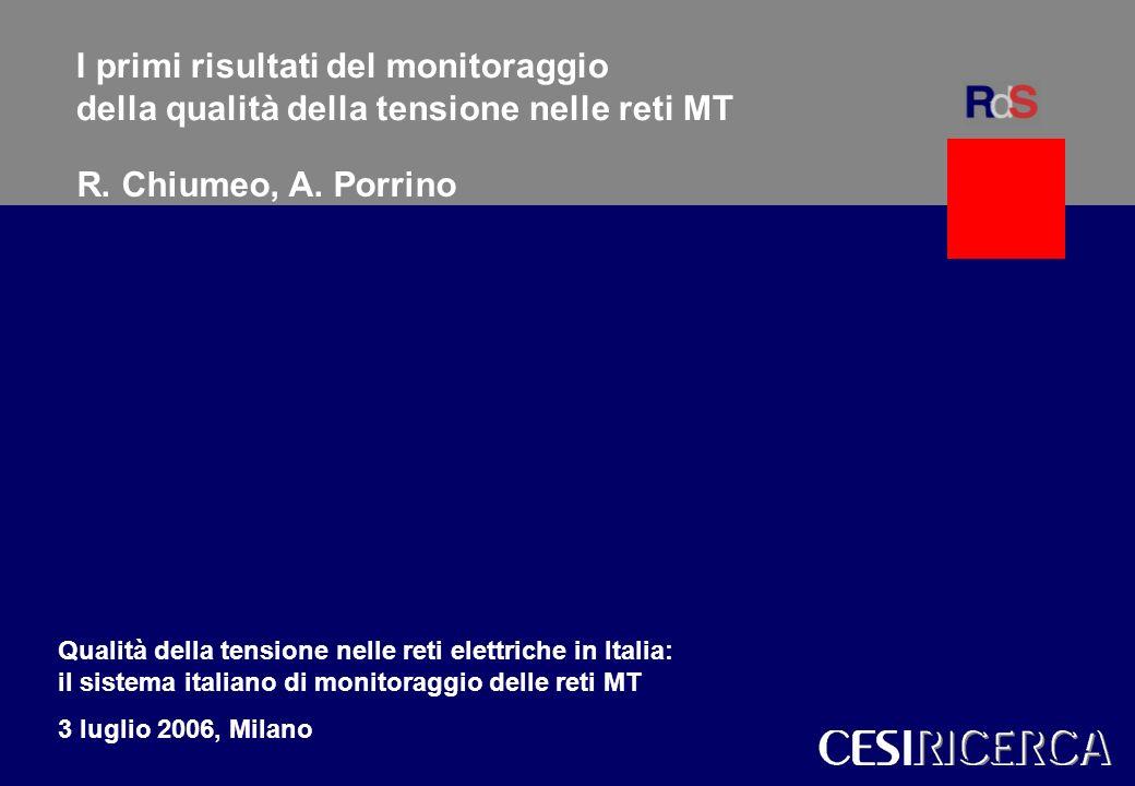 R. Chiumeo, A. Porrino 1 CESI 1 Modelli per gli scenari del sistema elettrico italianoWalter Grattieri I primi risultati del monitoraggio della qualit