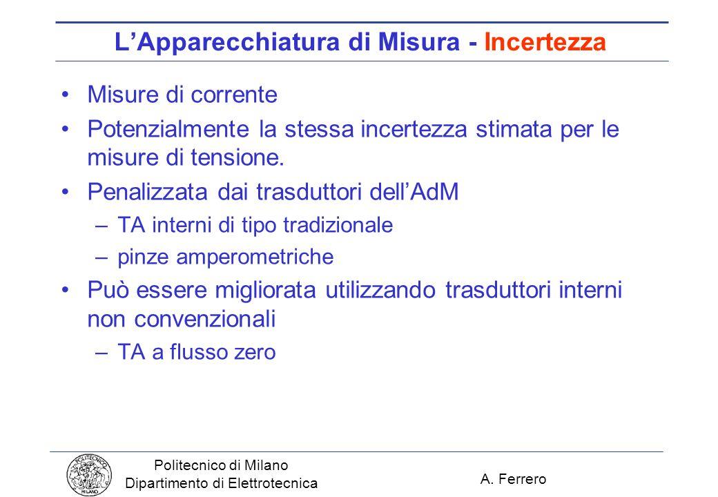 A. Ferrero Politecnico di Milano Dipartimento di Elettrotecnica LApparecchiatura di Misura - Incertezza Misure di corrente Potenzialmente la stessa in