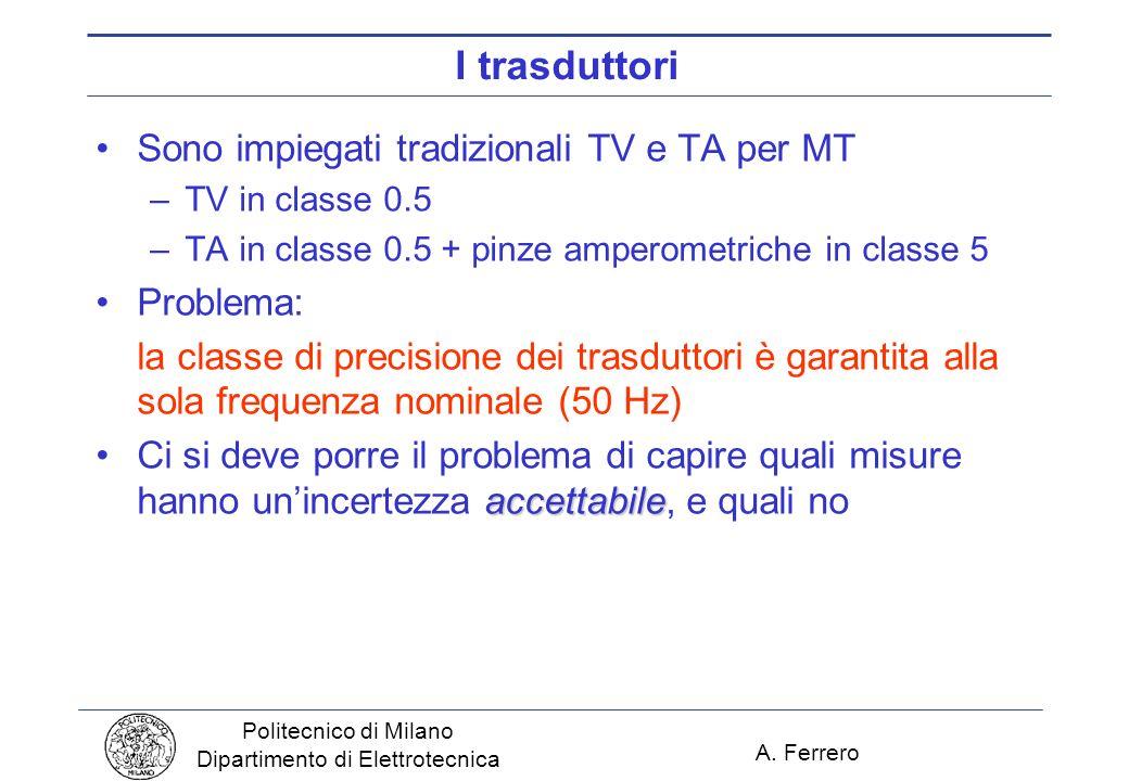A. Ferrero Politecnico di Milano Dipartimento di Elettrotecnica I trasduttori Sono impiegati tradizionali TV e TA per MT –TV in classe 0.5 –TA in clas