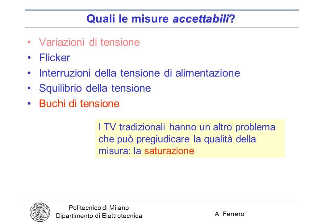 A. Ferrero Politecnico di Milano Dipartimento di Elettrotecnica accettabili Quali le misure accettabili? Variazioni di tensione Flicker Interruzioni d