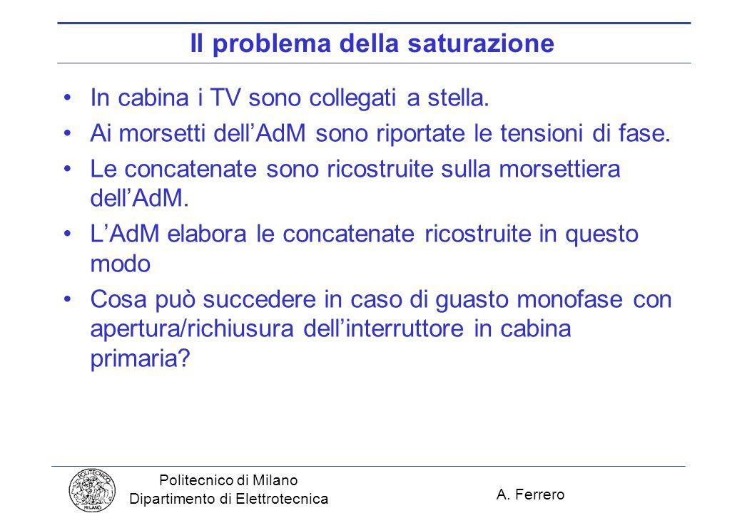 A. Ferrero Politecnico di Milano Dipartimento di Elettrotecnica Il problema della saturazione In cabina i TV sono collegati a stella. Ai morsetti dell