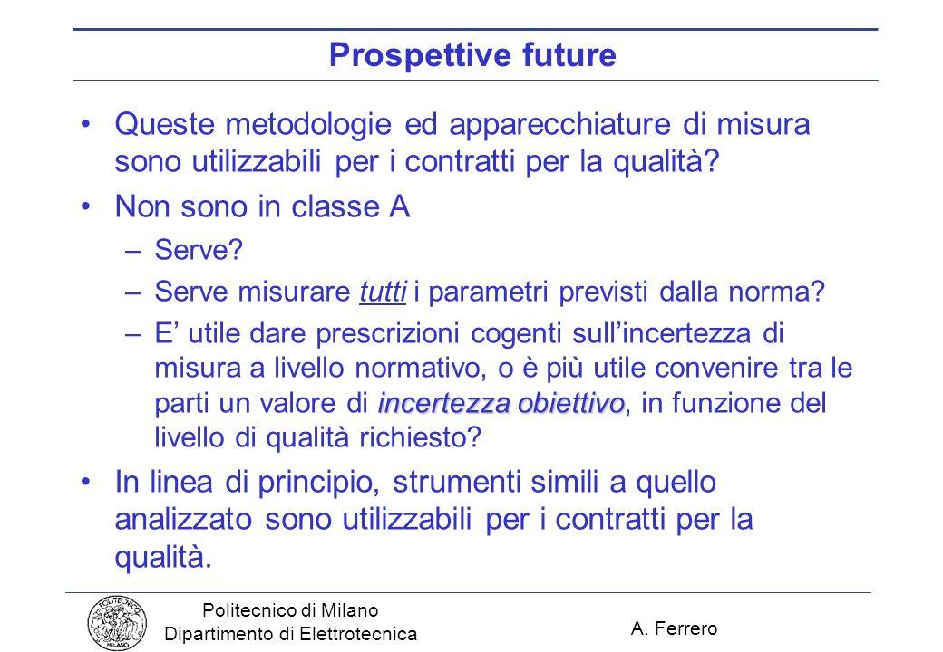 A. Ferrero Politecnico di Milano Dipartimento di Elettrotecnica Prospettive future Queste metodologie ed apparecchiature di misura sono utilizzabili p