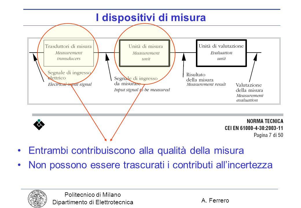 A. Ferrero Politecnico di Milano Dipartimento di Elettrotecnica I dispositivi di misura Entrambi contribuiscono alla qualità della misura Non possono