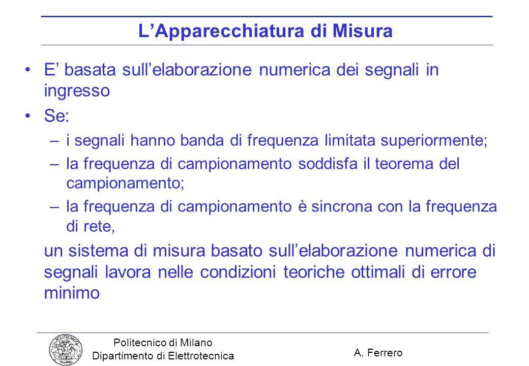 A. Ferrero Politecnico di Milano Dipartimento di Elettrotecnica LApparecchiatura di Misura E basata sullelaborazione numerica dei segnali in ingresso